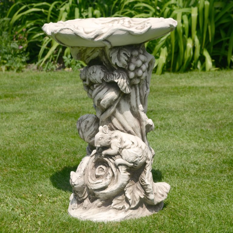 WOODLAND BIRD BATH 58CM ANTIQUE STONE EFFECT OUTDOOR2