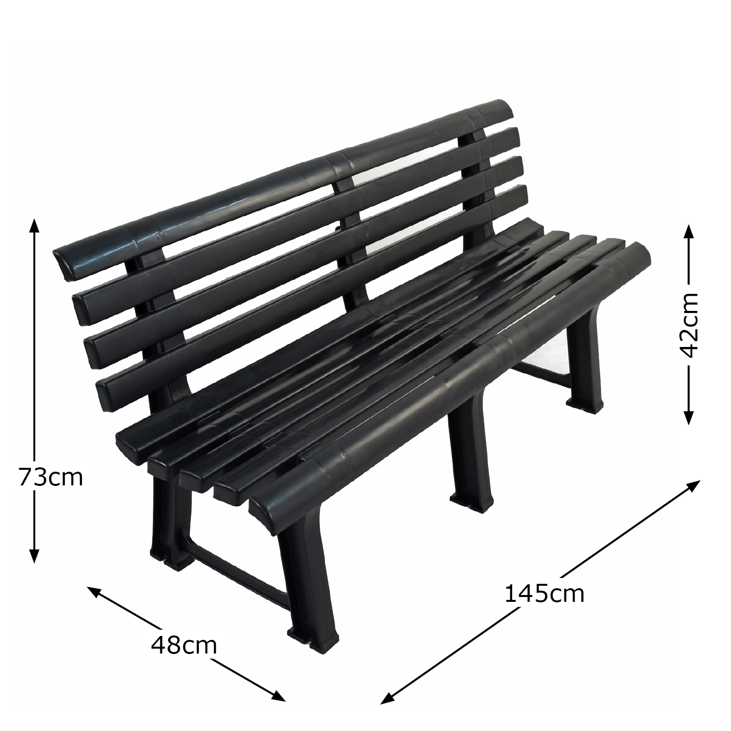 BRINDISI BENCH ANTHRACITE DIMENSION MS1