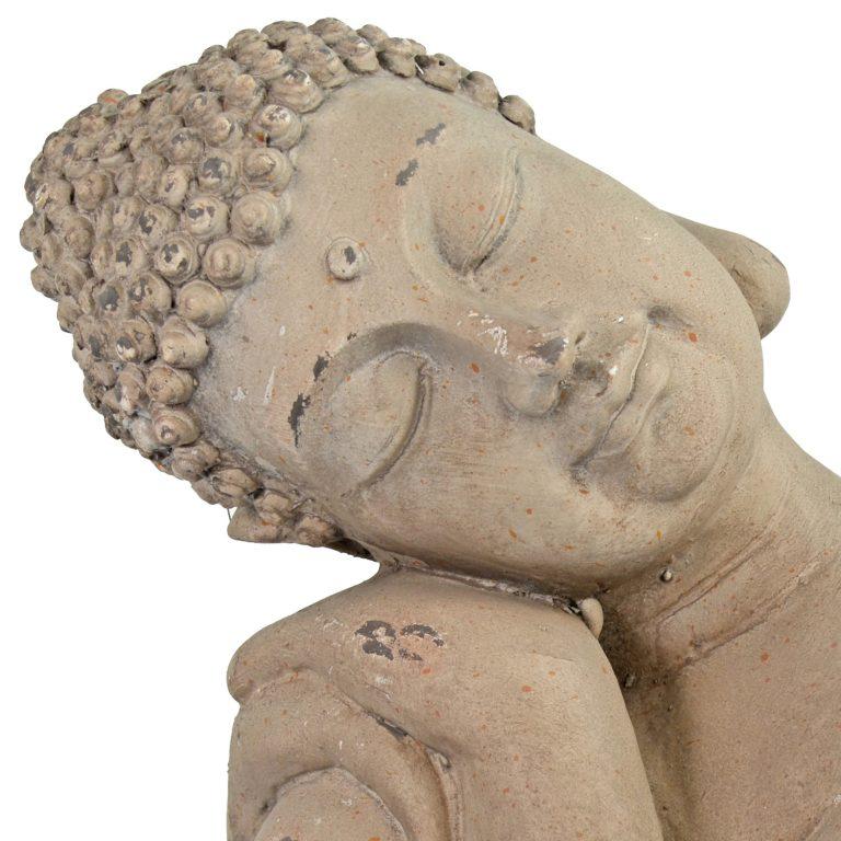 BUDDHA CROUCHING 37CM WEATHERED STONE EFFECT DETAIL WS6
