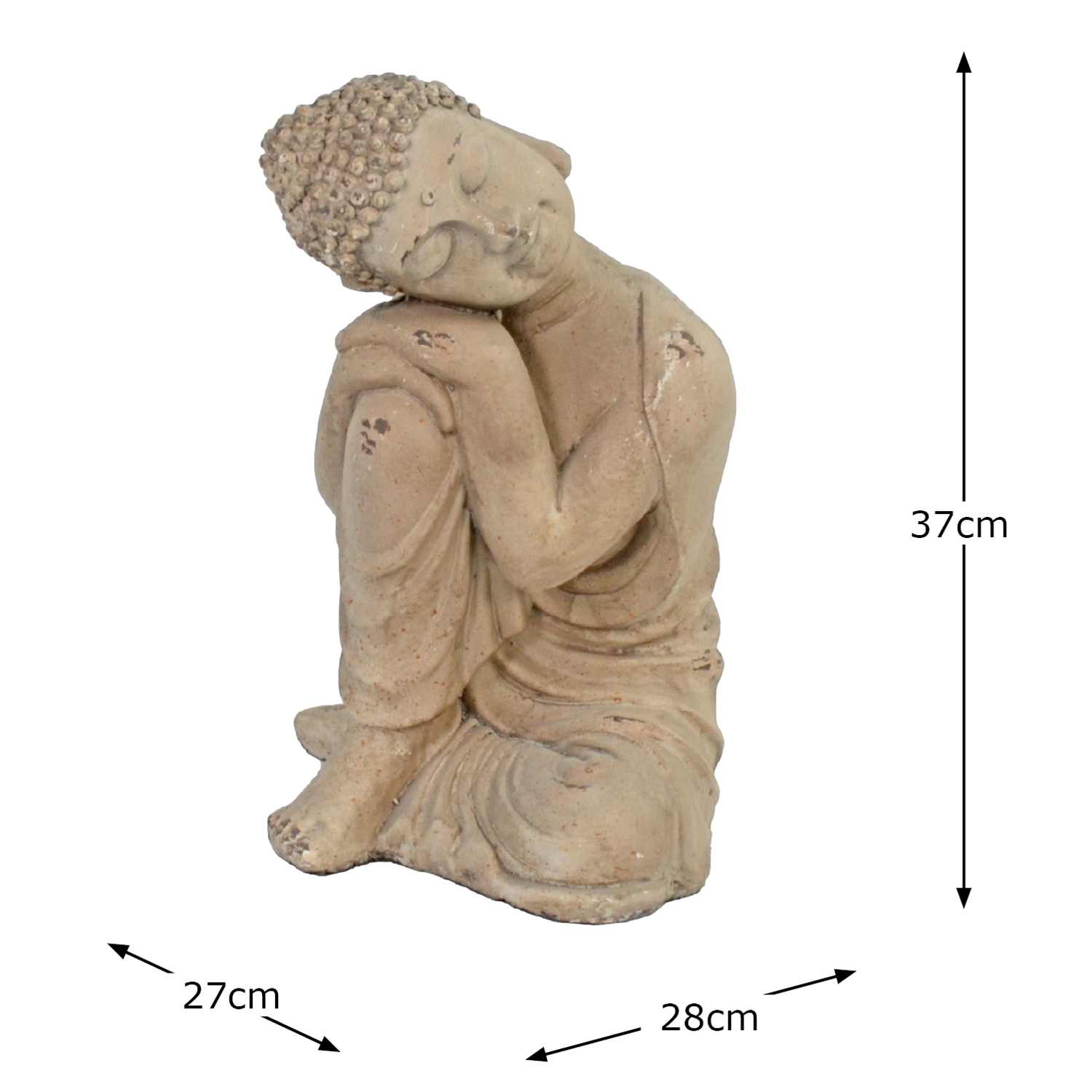 BUDDHA CROUCHING 37CM WEATHERED STONE EFFECT DIMENSION WS10
