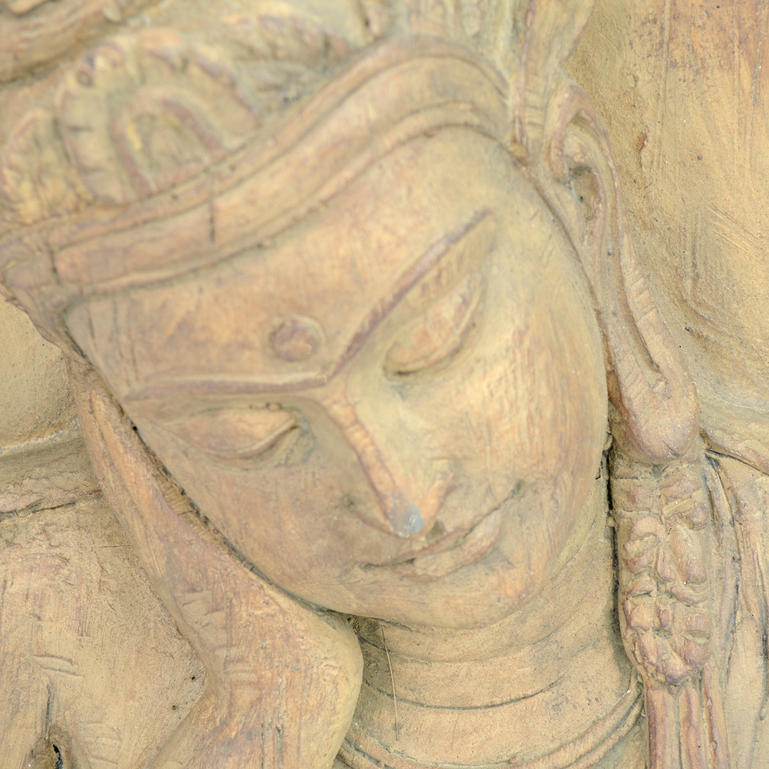 BUDDHA PLAQUE 64CM CARVED WOOD EFFECT DETAIL WS6