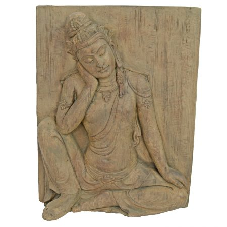 BUDDHA PLAQUE 64CM CARVED WOOD EFFECT PROFILE WS1