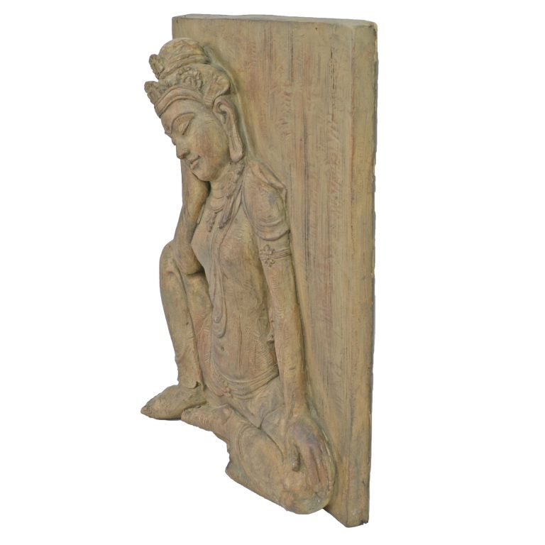 BUDDHA PLAQUE 64CM CARVED WOOD EFFECT PROFILE WS3