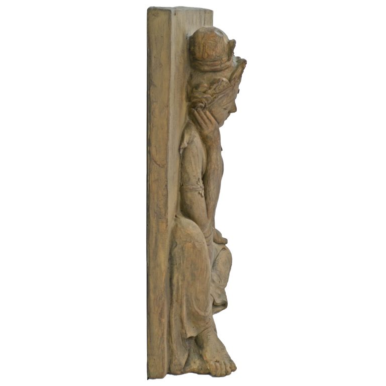 BUDDHA PLAQUE 64CM CARVED WOOD EFFECT PROFILE WS4