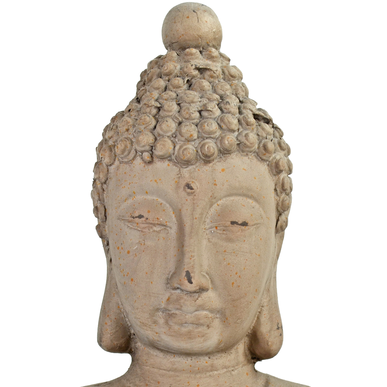 BUDDHA SITTING 42CM WEATHERED STONE EFFECT DETAIL WS6