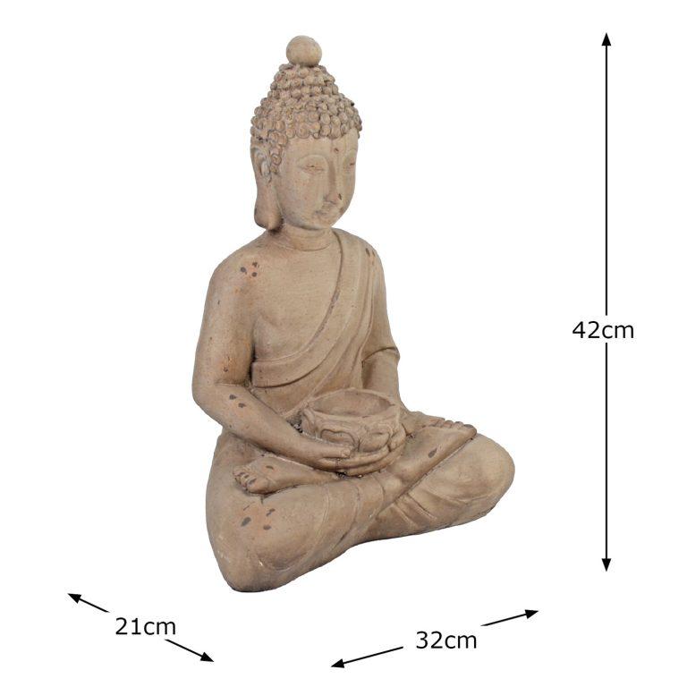BUDDHA SITTING 42CM WEATHERED STONE EFFECT DIMENSION WS10