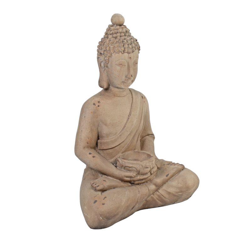 BUDDHA SITTING 42CM WEATHERED STONE EFFECT PROFILE WS1