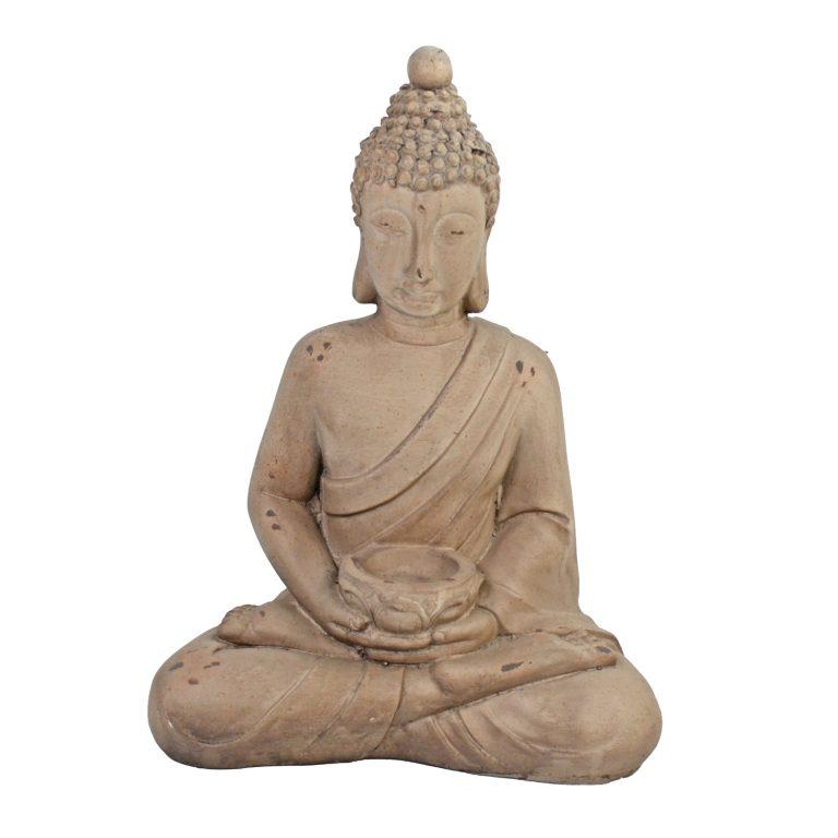 BUDDHA SITTING 42CM WEATHERED STONE EFFECT PROFILE WS3