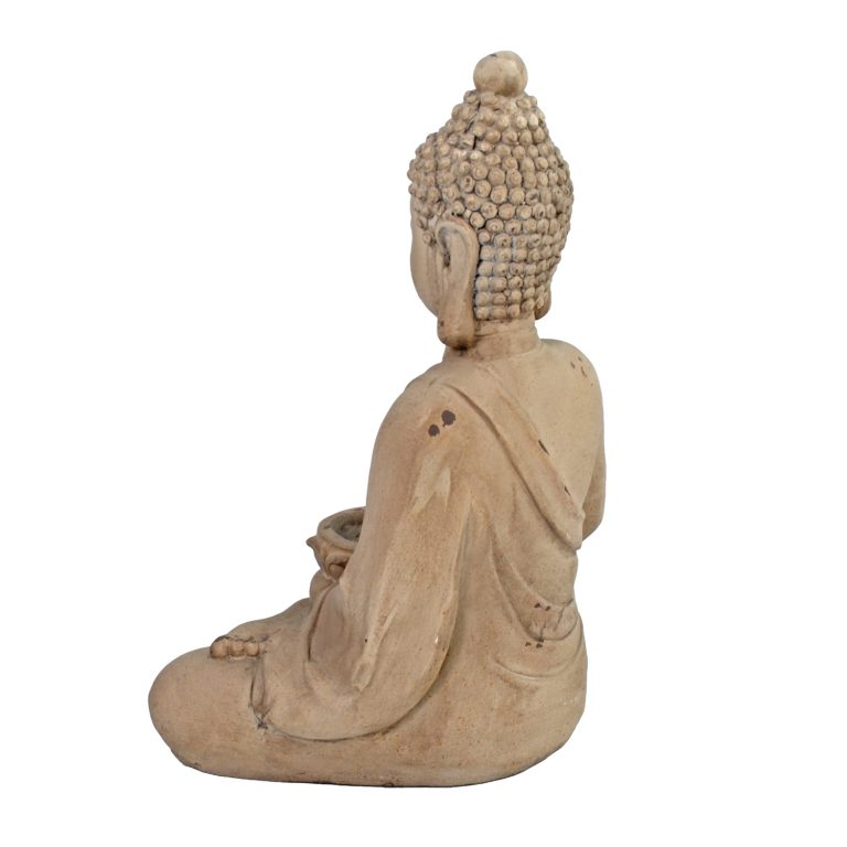 BUDDHA SITTING 42CM WEATHERED STONE EFFECT PROFILE WS4