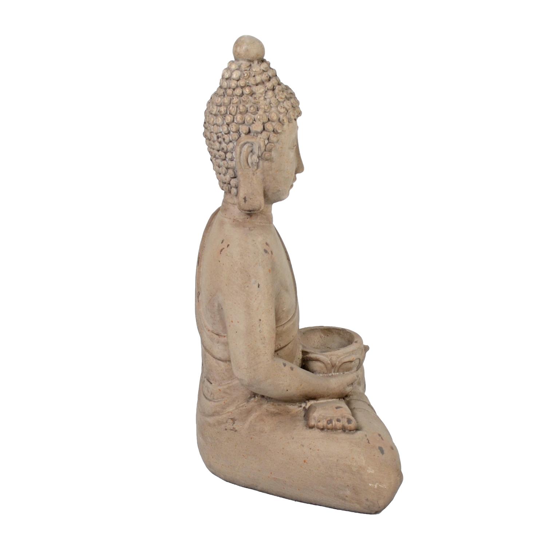 BUDDHA SITTING 42CM WEATHERED STONE EFFECT PROFILE WS7