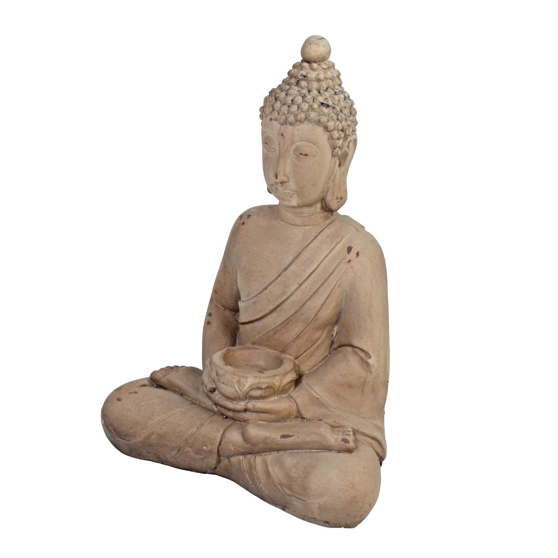 BUDDHA SITTING 42CM WEATHERED STONE EFFECT PROFILE WS8