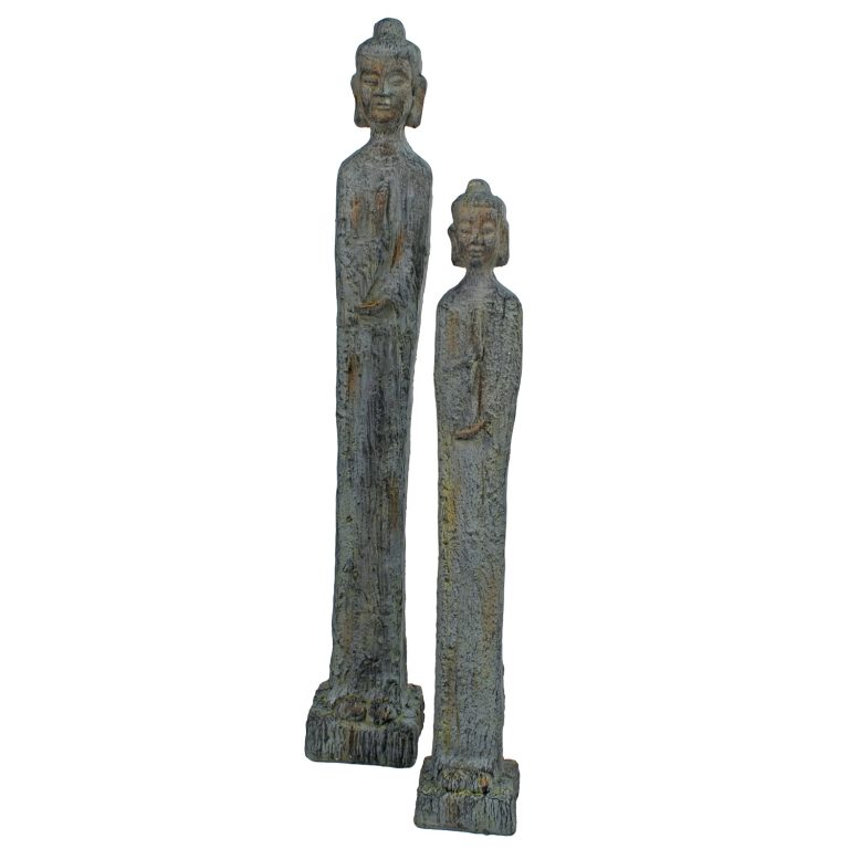 BUDDHA THIN TALL 100CM PATINA BRONZE EFFECT DETAIL WS11