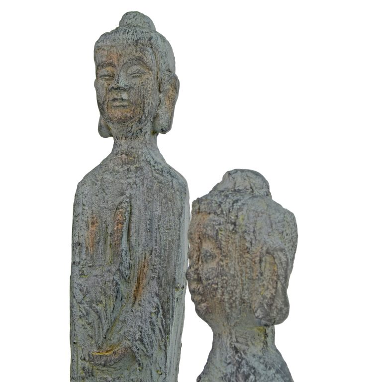 BUDDHA THIN TALL 100CM PATINA BRONZE EFFECT DETAIL WS12