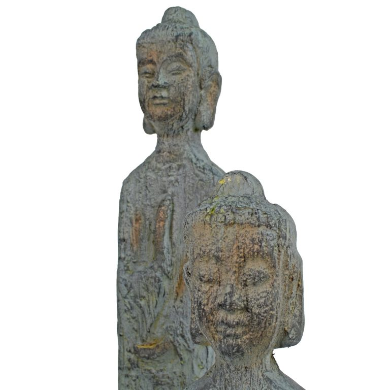 BUDDHA THIN TALL 100CM PATINA BRONZE EFFECT DETAIL WS13
