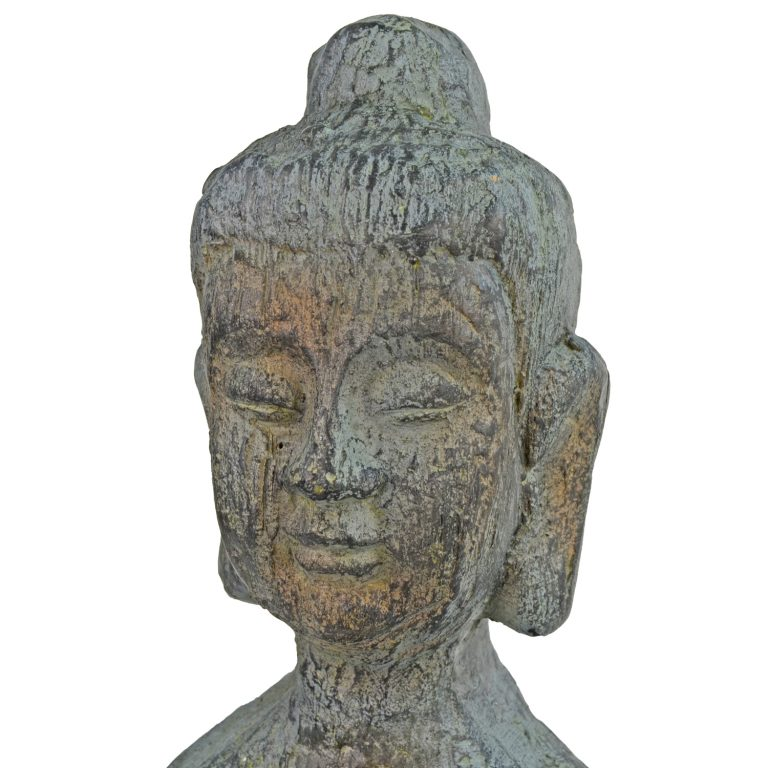 BUDDHA THIN TALL 100CM PATINA BRONZE EFFECT DETAIL WS6