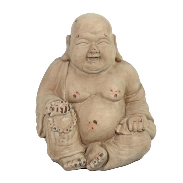 BUDDHIST MONK SITTING 34CM WEATHERED STONE EFFECT1 PROFILE WS3