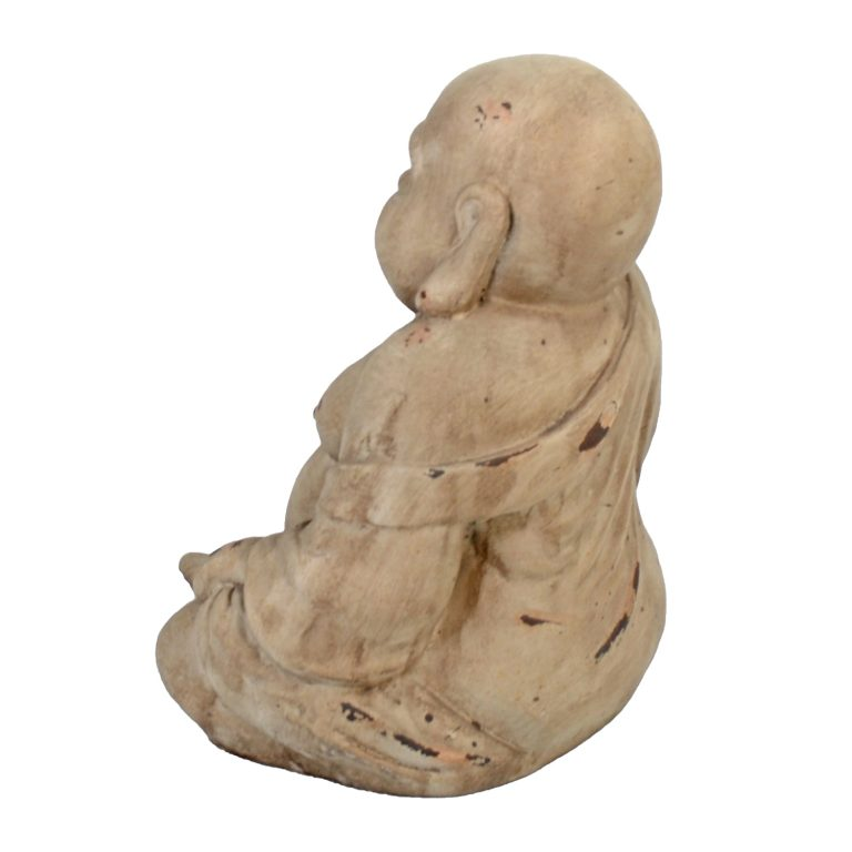 BUDDHIST MONK SITTING 34CM WEATHERED STONE EFFECT1 PROFILE WS4