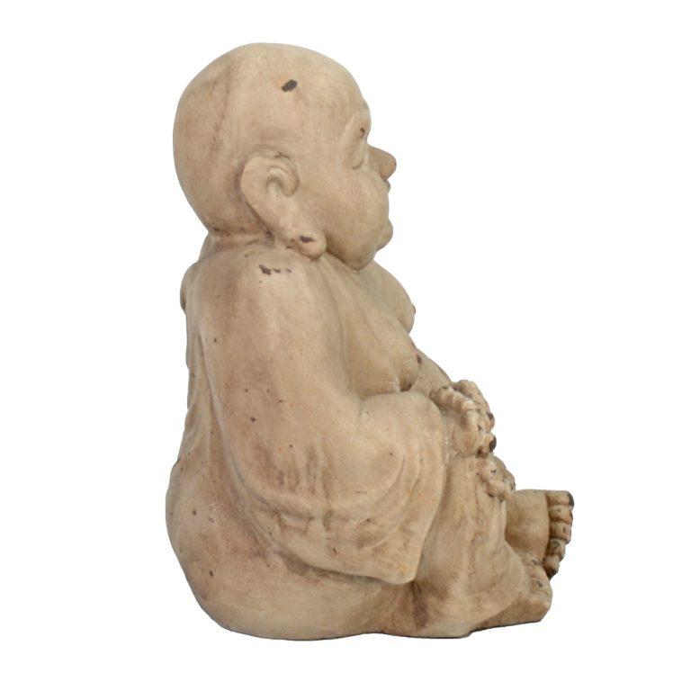 BUDDHIST MONK SITTING 34CM WEATHERED STONE EFFECT1 PROFILE WS7