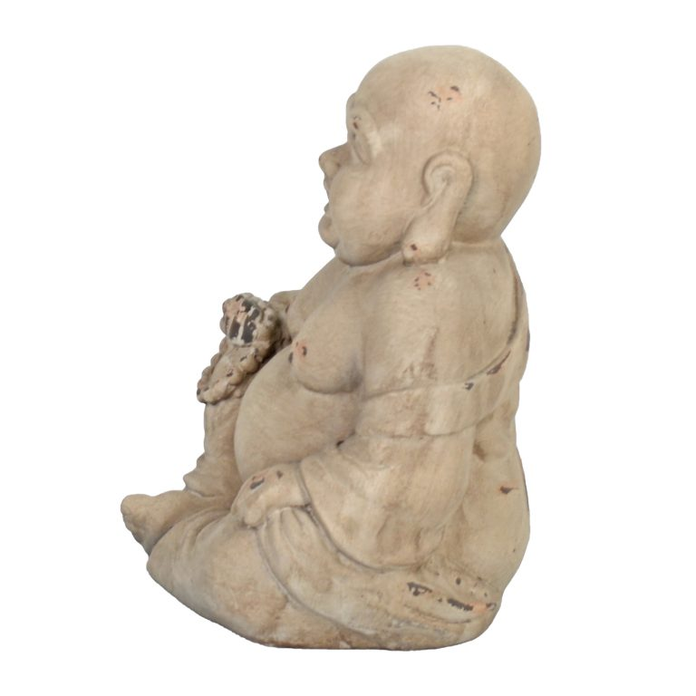 BUDDHIST MONK SITTING 34CM WEATHERED STONE EFFECT1 PROFILE WS8