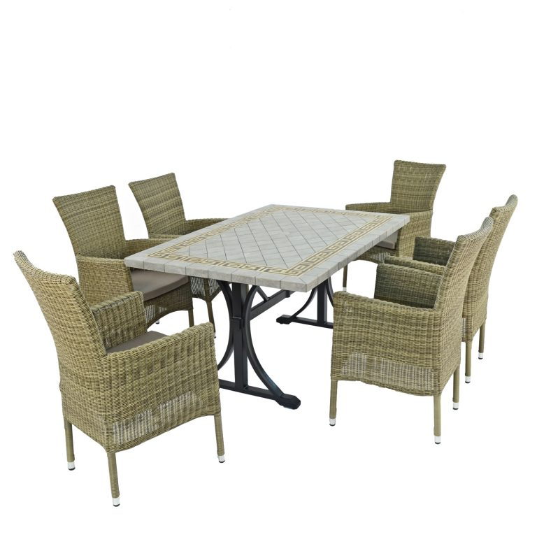 BURLINGTON DINING TABLE WITH 6 DORCHESTER CHAIRS SET WG2