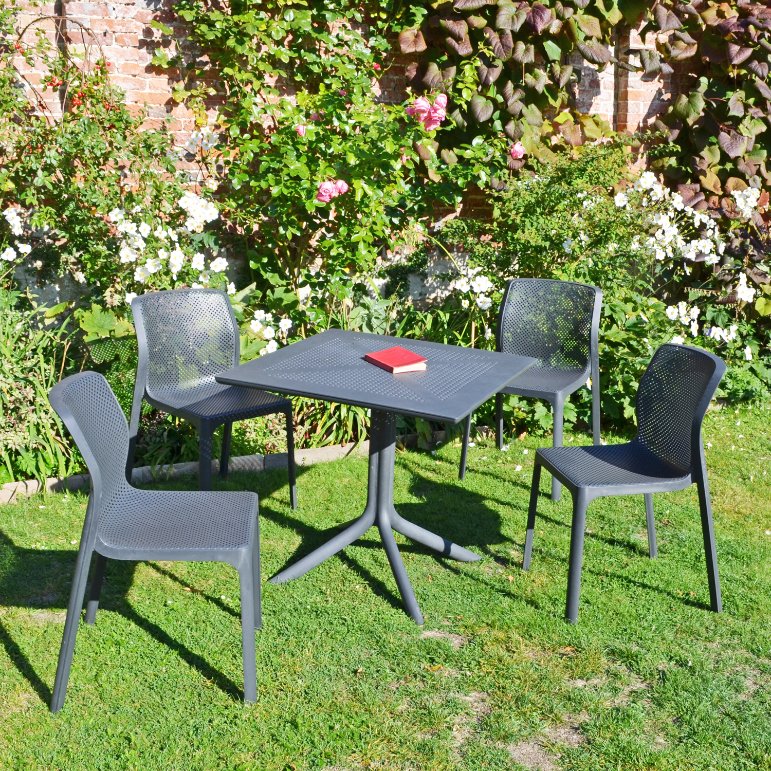 CLIP DINING TABLE WITH 4 BIT CHAIR SET ANTHRACITE LG1