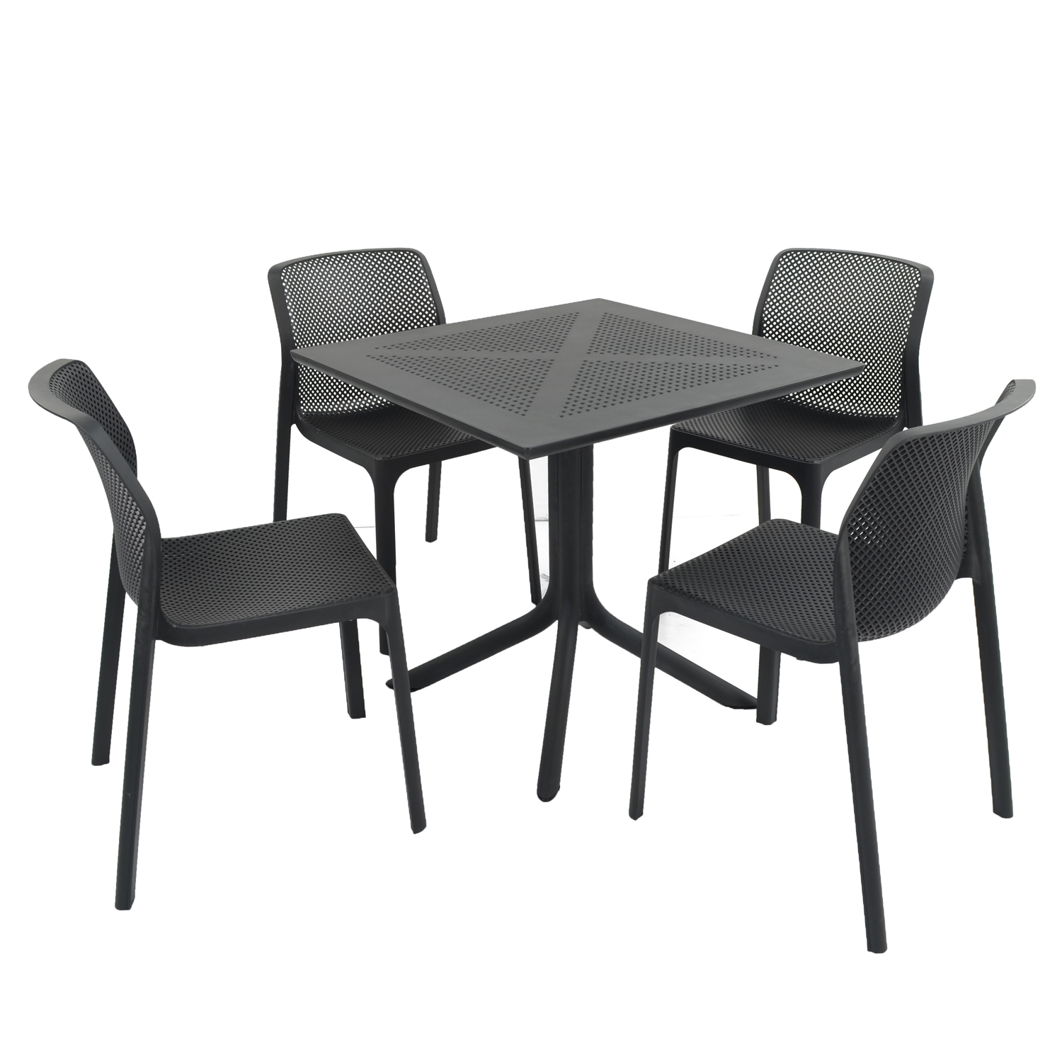 CLIP DINING TABLE WITH 4 BIT CHAIR SET ANTHRACITE WG1