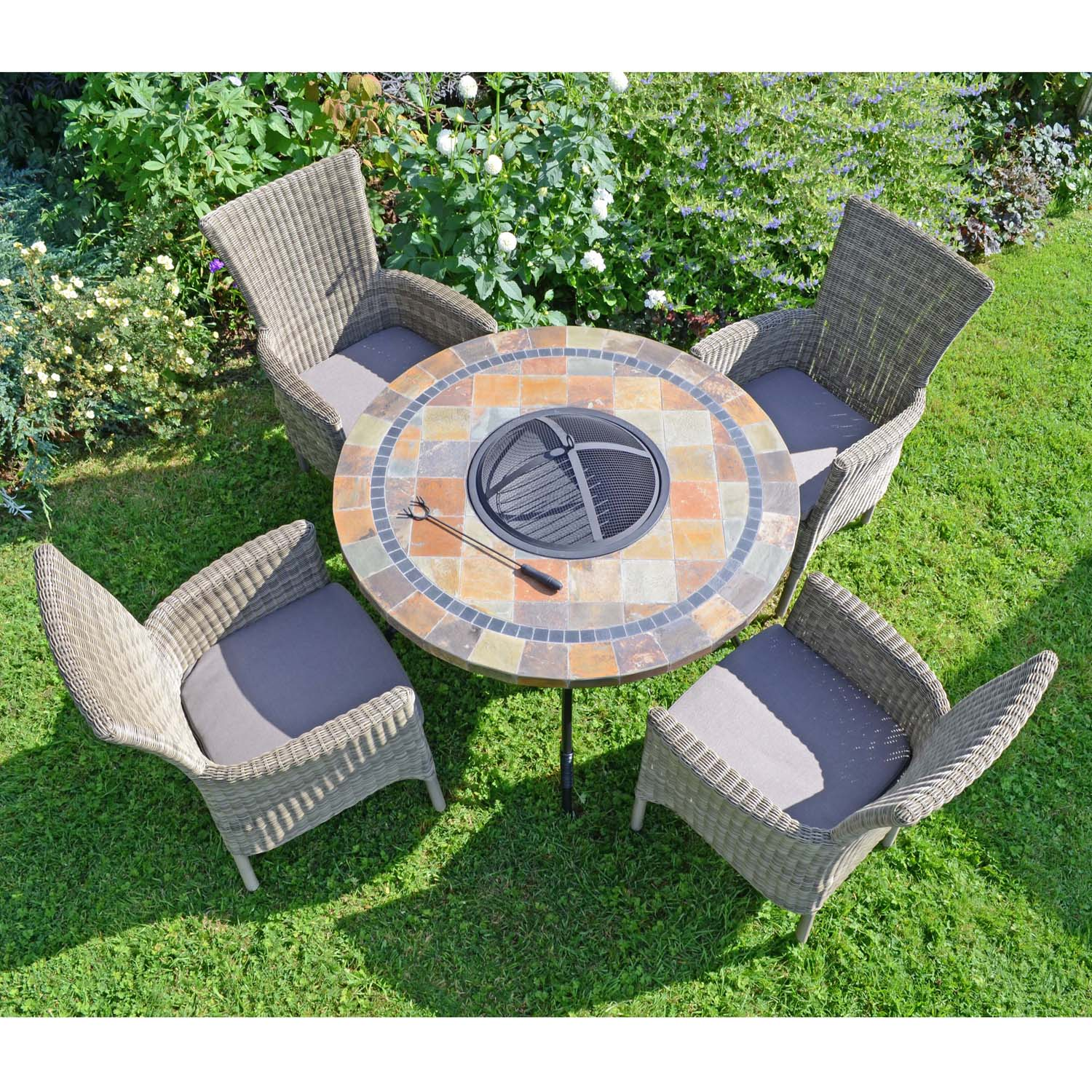 Image of: Colorado Fire Pit Table With 4 Dorchester Chairs Set Greenfern Garden Furniture