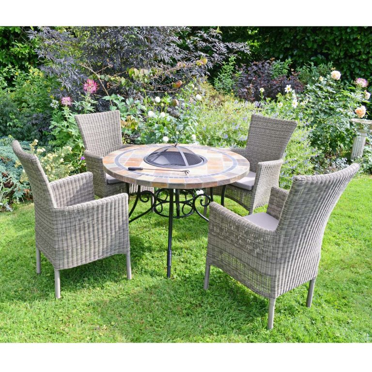 COLORADO FIRE PIT TABLE WITH 4 DORCHESTER CHAIRS SET LG3