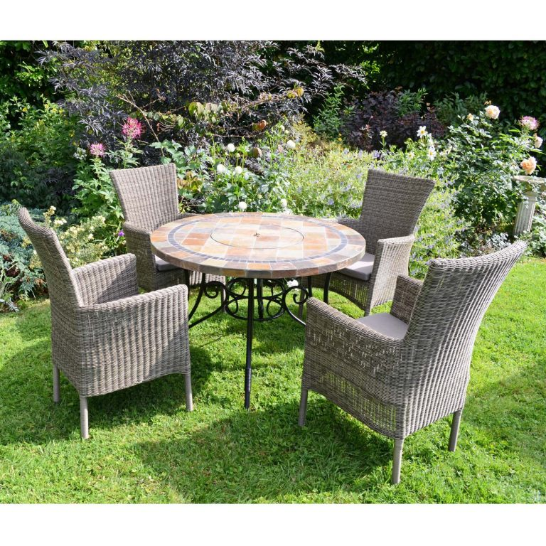 COLORADO FIRE PIT TABLE WITH 4 DORCHESTER CHAIRS SET LG4