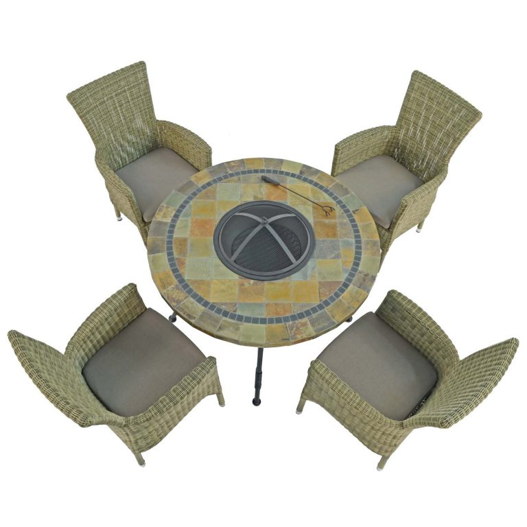 COLORADO FIRE PIT TABLE WITH 4 DORCHESTER CHAIRS SET WG1
