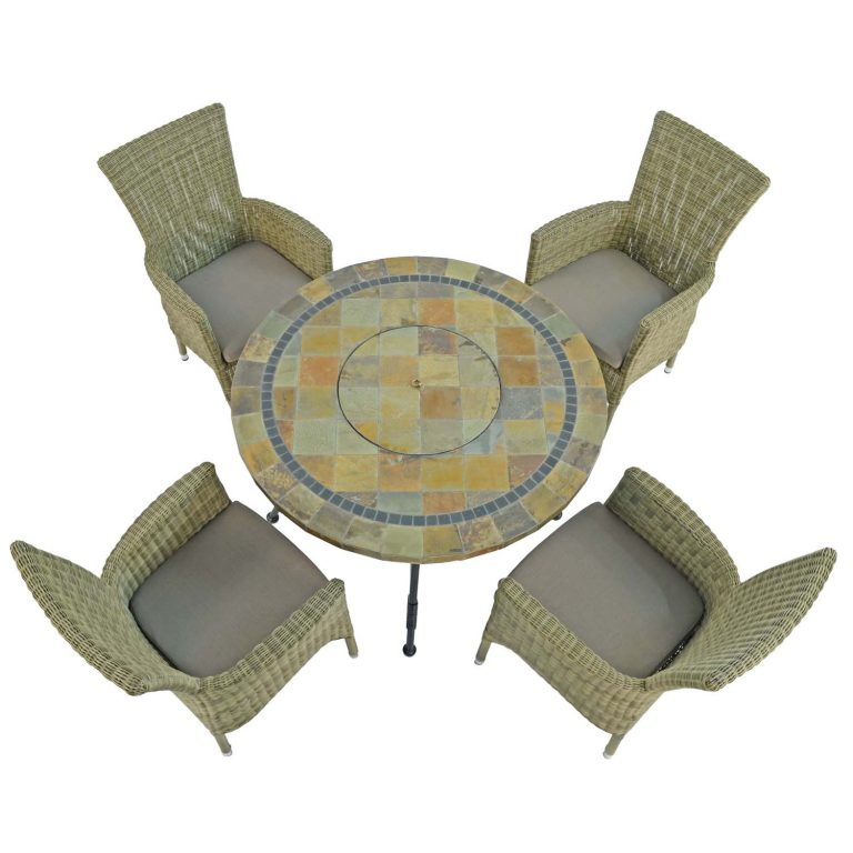 COLORADO FIRE PIT TABLE WITH 4 DORCHESTER CHAIRS SET WG2