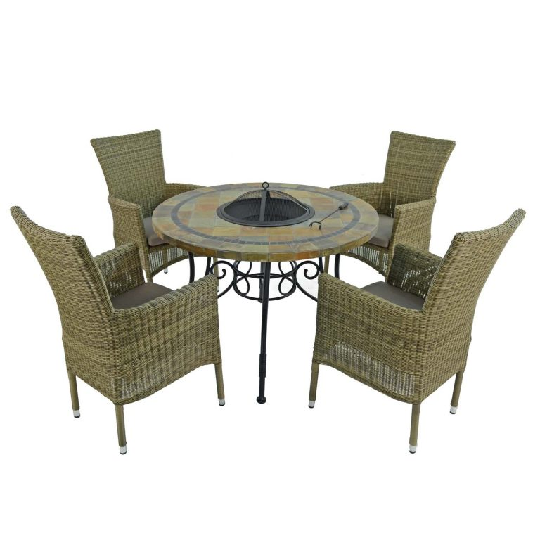 COLORADO FIRE PIT TABLE WITH 4 DORCHESTER CHAIRS SET WG3