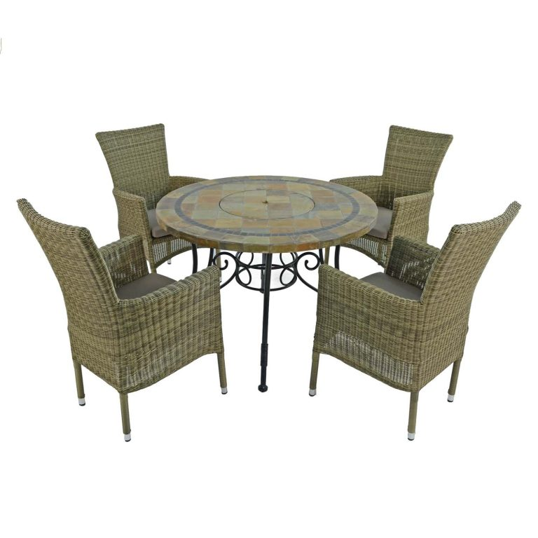 COLORADO FIRE PIT TABLE WITH 4 DORCHESTER CHAIRS SET WG4