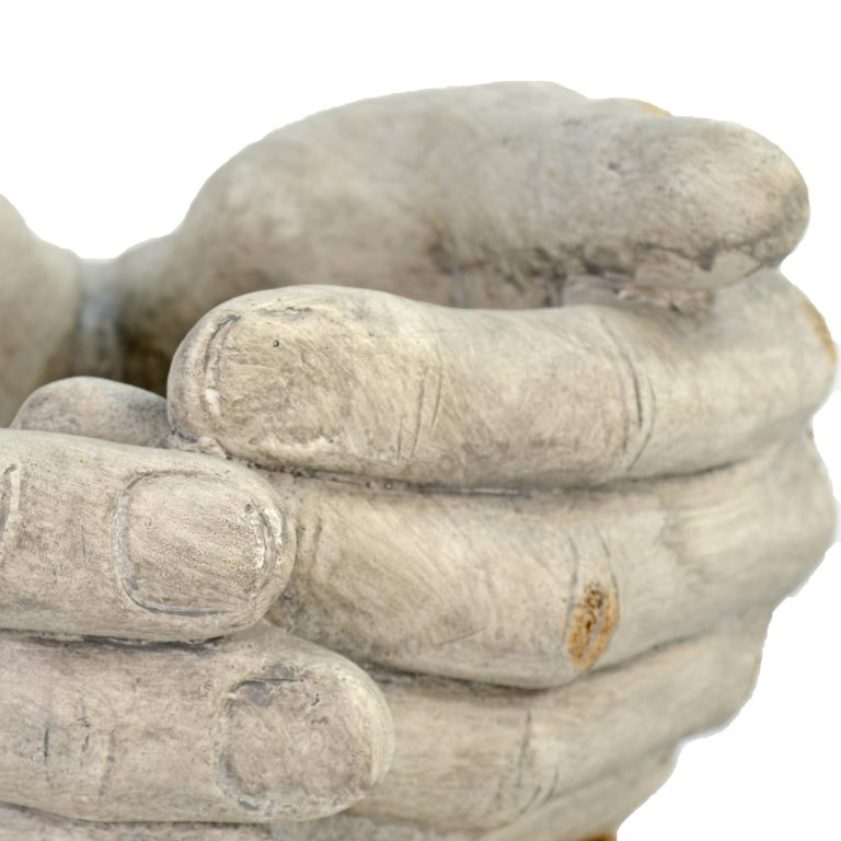 CUPPED HANDS PLANTER 19CM WEATHERED STONE EFFECT DETAIL WS6