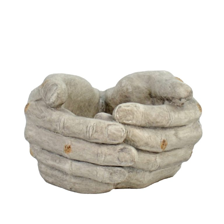 CUPPED HANDS PLANTER 19CM WEATHERED STONE EFFECT PROFILE WS1