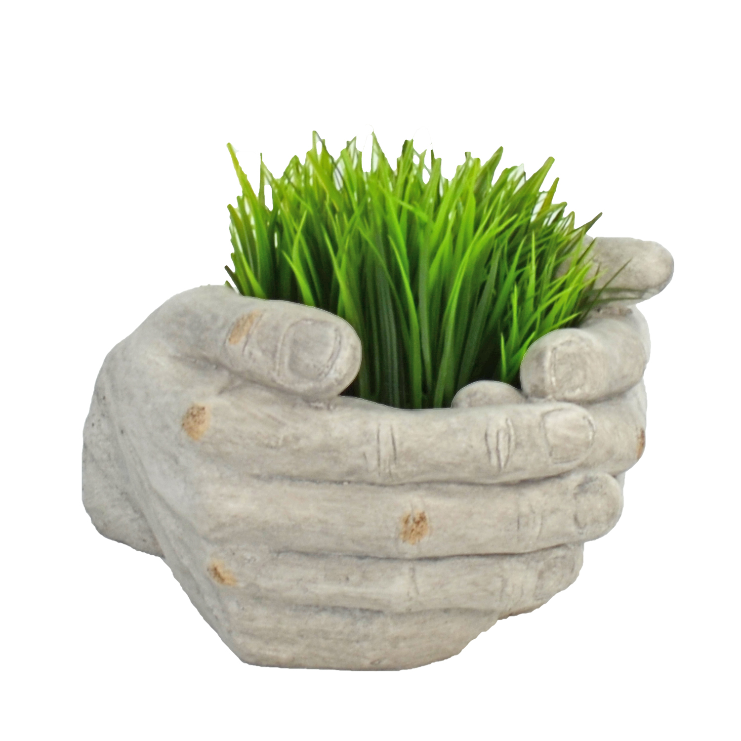 CUPPED HANDS PLANTER 19CM WEATHERED STONE EFFECT PROFILE WS12