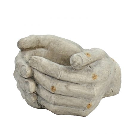 CUPPED HANDS PLANTER 19CM WEATHERED STONE EFFECT PROFILE WS13