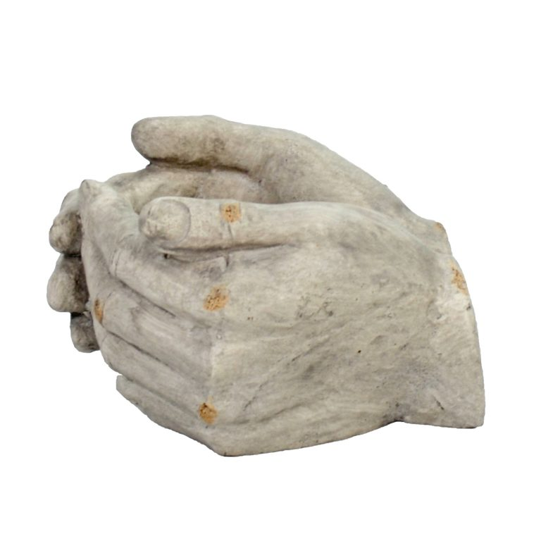 CUPPED HANDS PLANTER 19CM WEATHERED STONE EFFECT PROFILE WS7