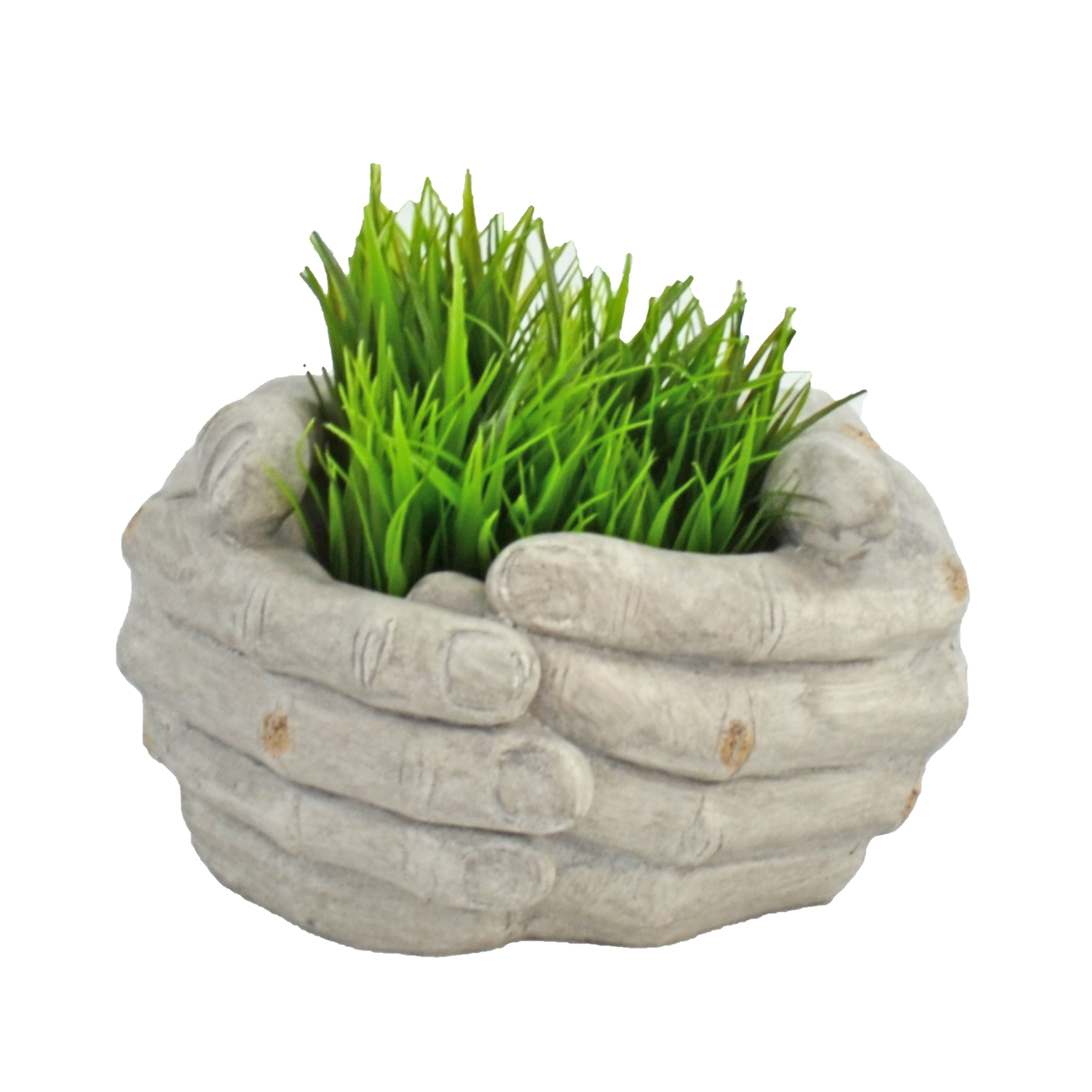 CUPPED HANDS PLANTER 19CM WEATHERED STONE EFFECT PROFILE WS9