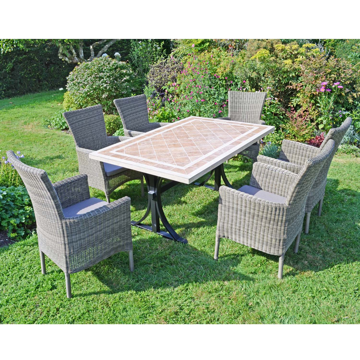 HAMPTON DINING TABLE WITH 6 DORCHESTER CHAIRS SET LG2