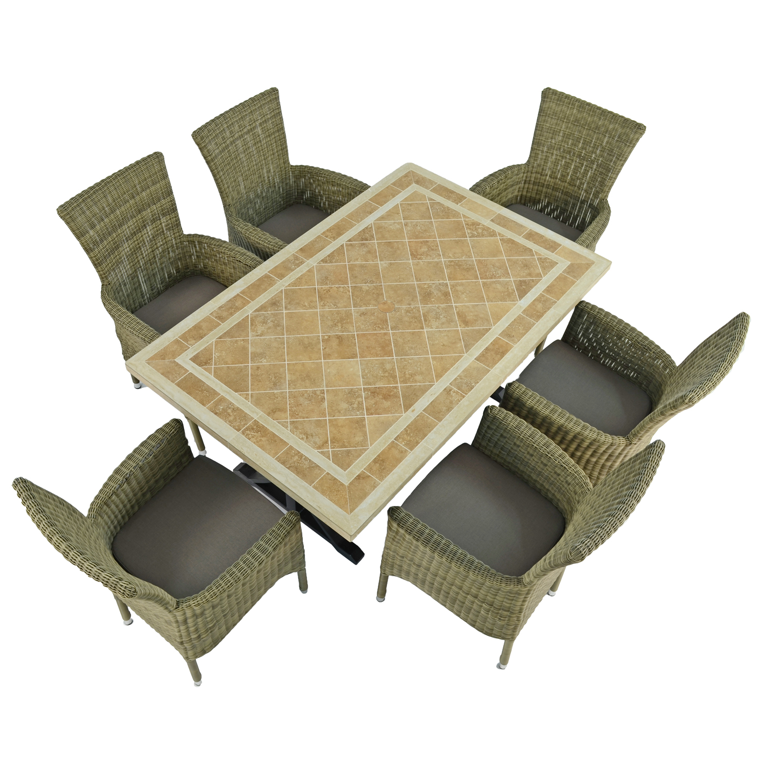 HAMPTON DINING TABLE WITH 6 DORCHESTER CHAIRS SET WG1