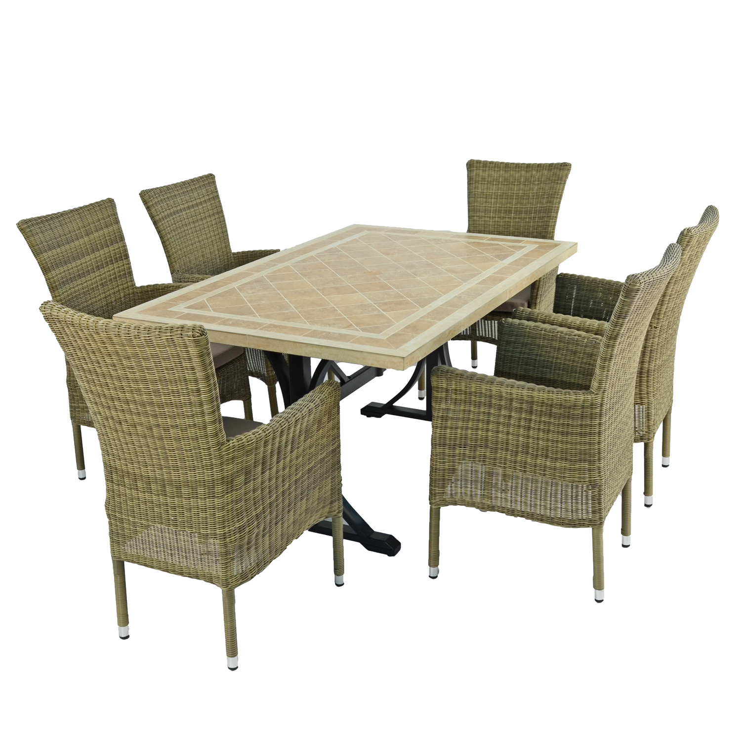 HAMPTON DINING TABLE WITH 6 DORCHESTER CHAIRS SET WG2