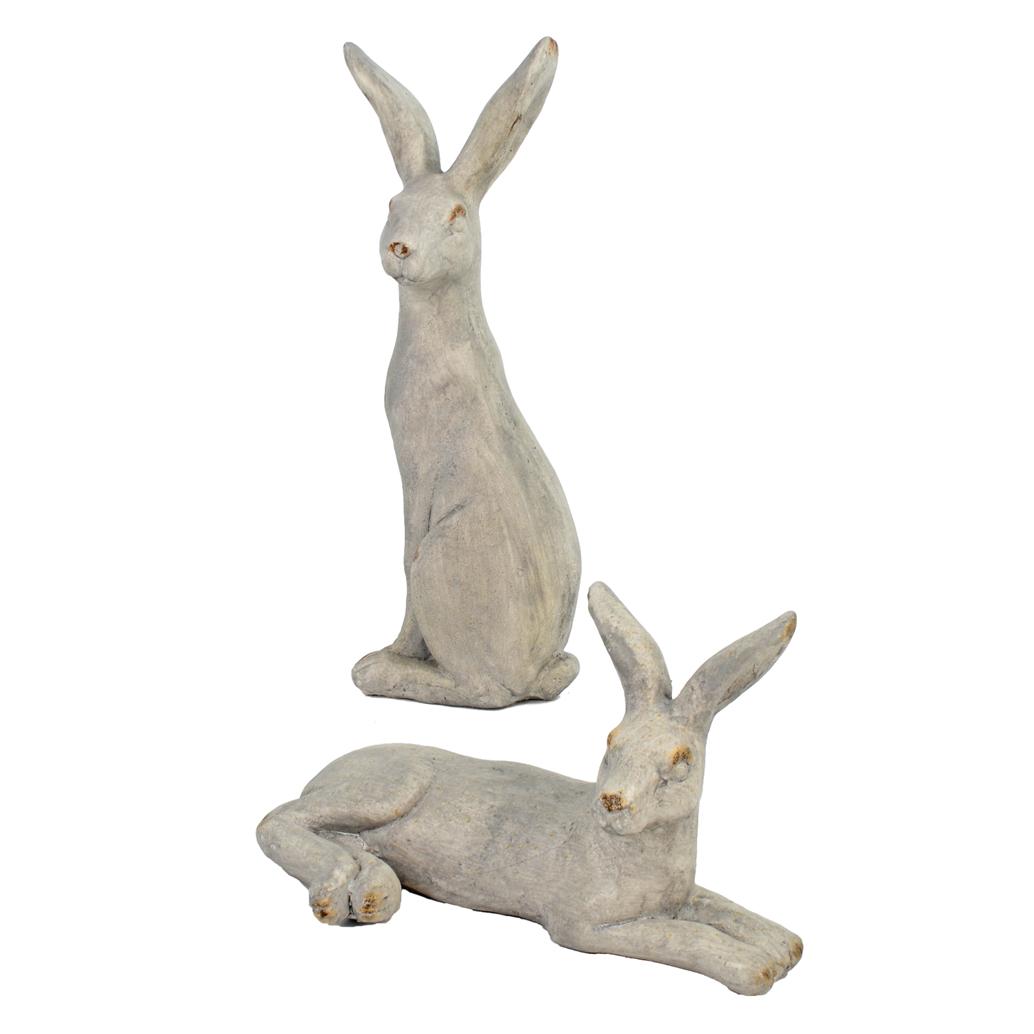 HARE LYING 24CM WEATHERED STONE EFFECT DETAIL WS9