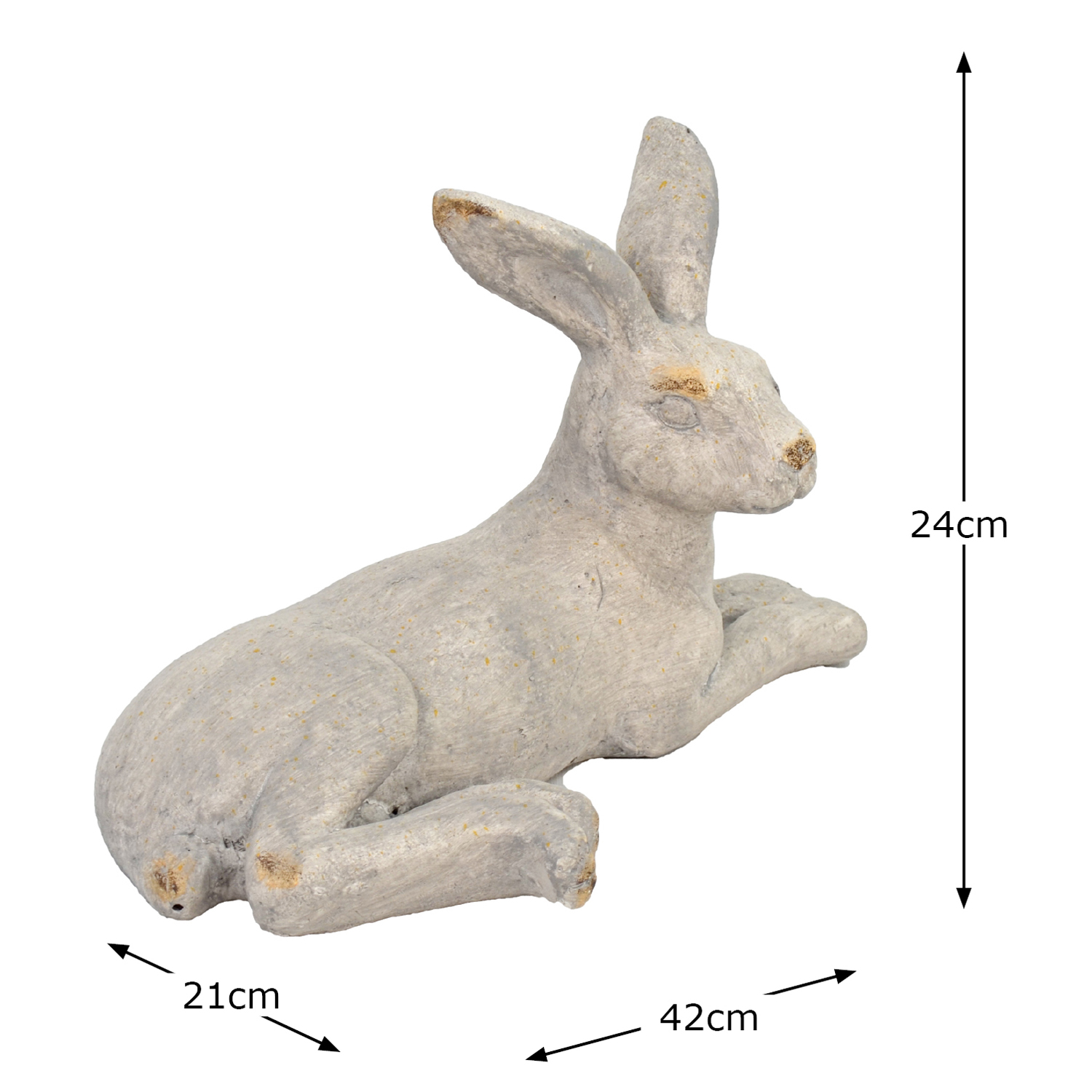 HARE LYING 24CM WEATHERED STONE EFFECT DIMENSION WS10
