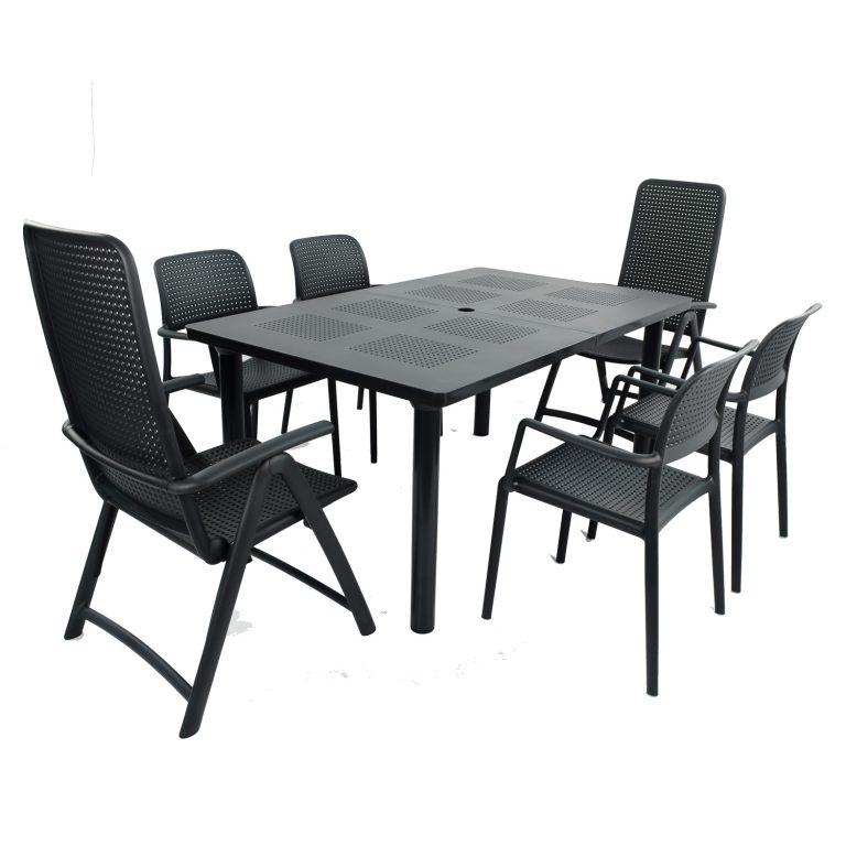 LIBECCIO TABLE WITH 2 DARSENA 4 BORA CHAIR SET ANTHRACITE WG1