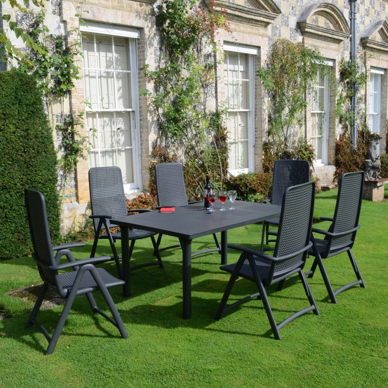 LIBECCIO TABLE WITH 6 DARSENA CHAIR SET ANTHRACITE LG1