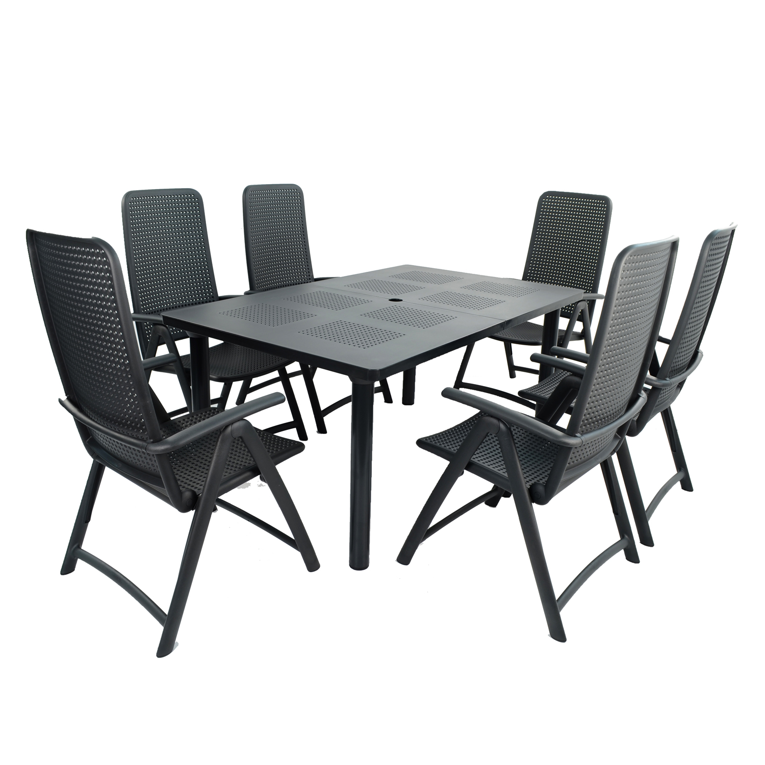 LIBECCIO TABLE WITH 6 DARSENA CHAIR SET ANTHRACITE WG1