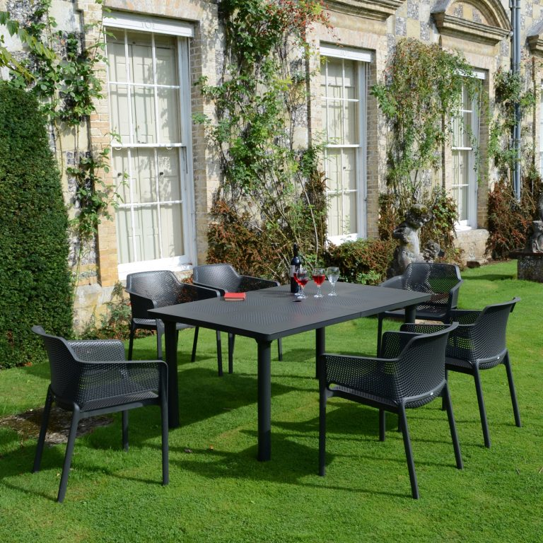 LIBECCIO TABLE WITH 6 NET CHAIR SET ANTHRACITE LG1