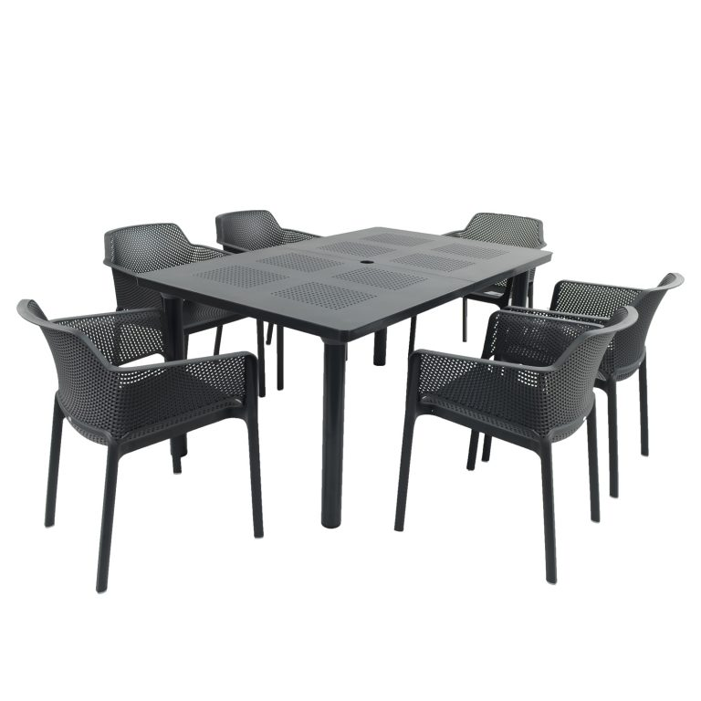 LIBECCIO TABLE WITH 6 NET CHAIR SET ANTHRACITE WG1