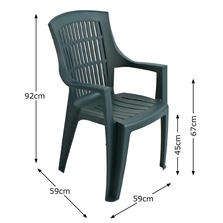 PARMA STACK CHAIR GREEN DIMENSION MS1